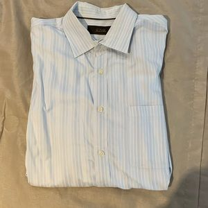 Men's Tasso Elba Long Sleeve Dress Shirt Light Blu